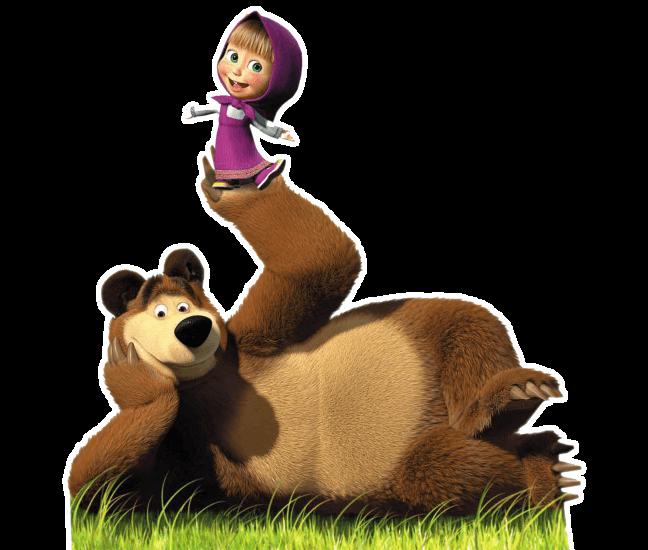 Раскраска Маша и Медведь распечатать