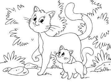 Кот кошка и котенок раскраска