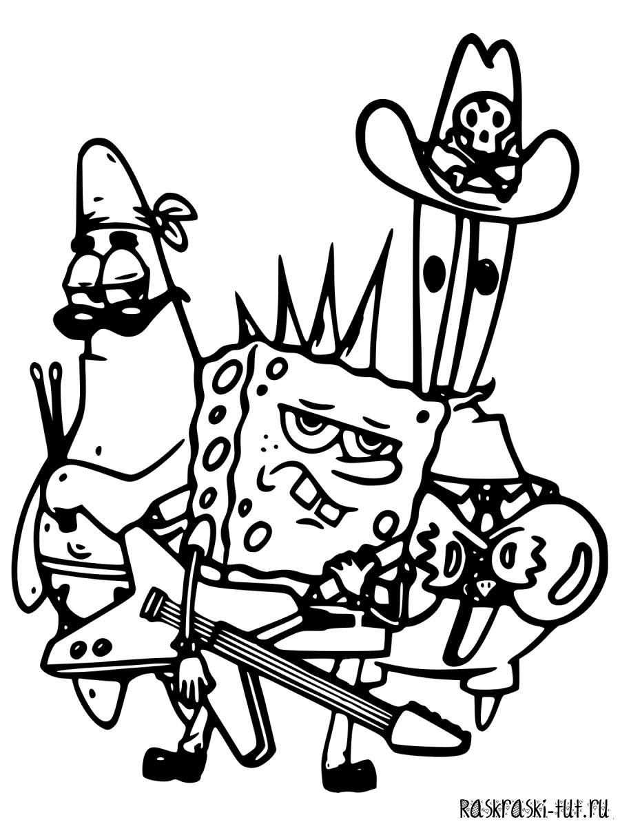 Распечатать раскраски Губка Боб