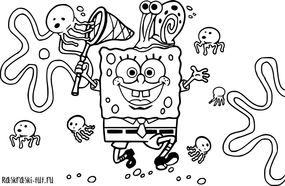 Распечатать раскраску Губка Боб