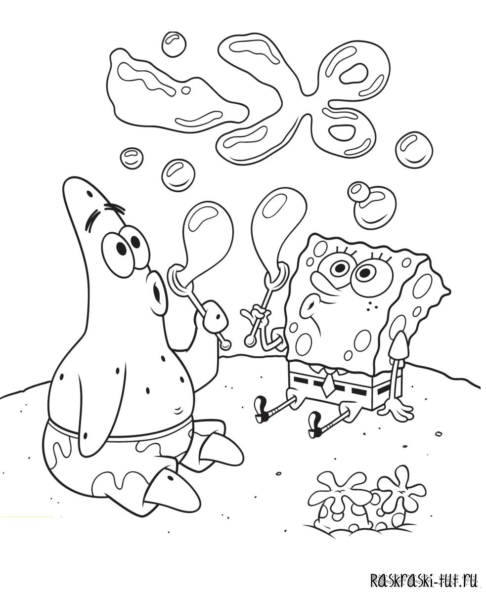Раскраска персонажи губки боба игры черепашки ниндзя короли улиц