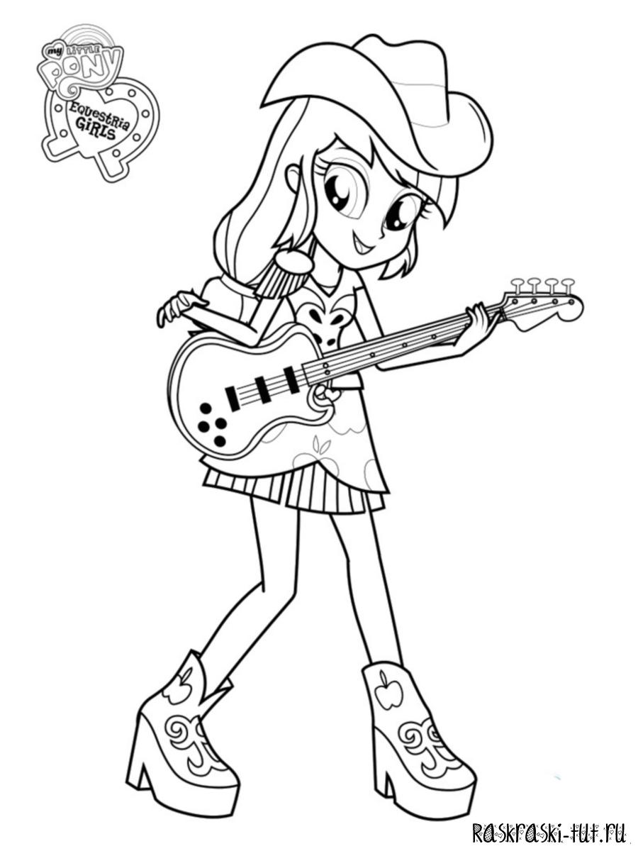 Раскраска Девочки из Эквестрии - Эпплджек с гитарой