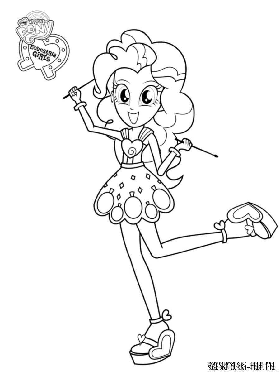 Раскраска Девочки из Эквестрии - Пинки Пай с палочками