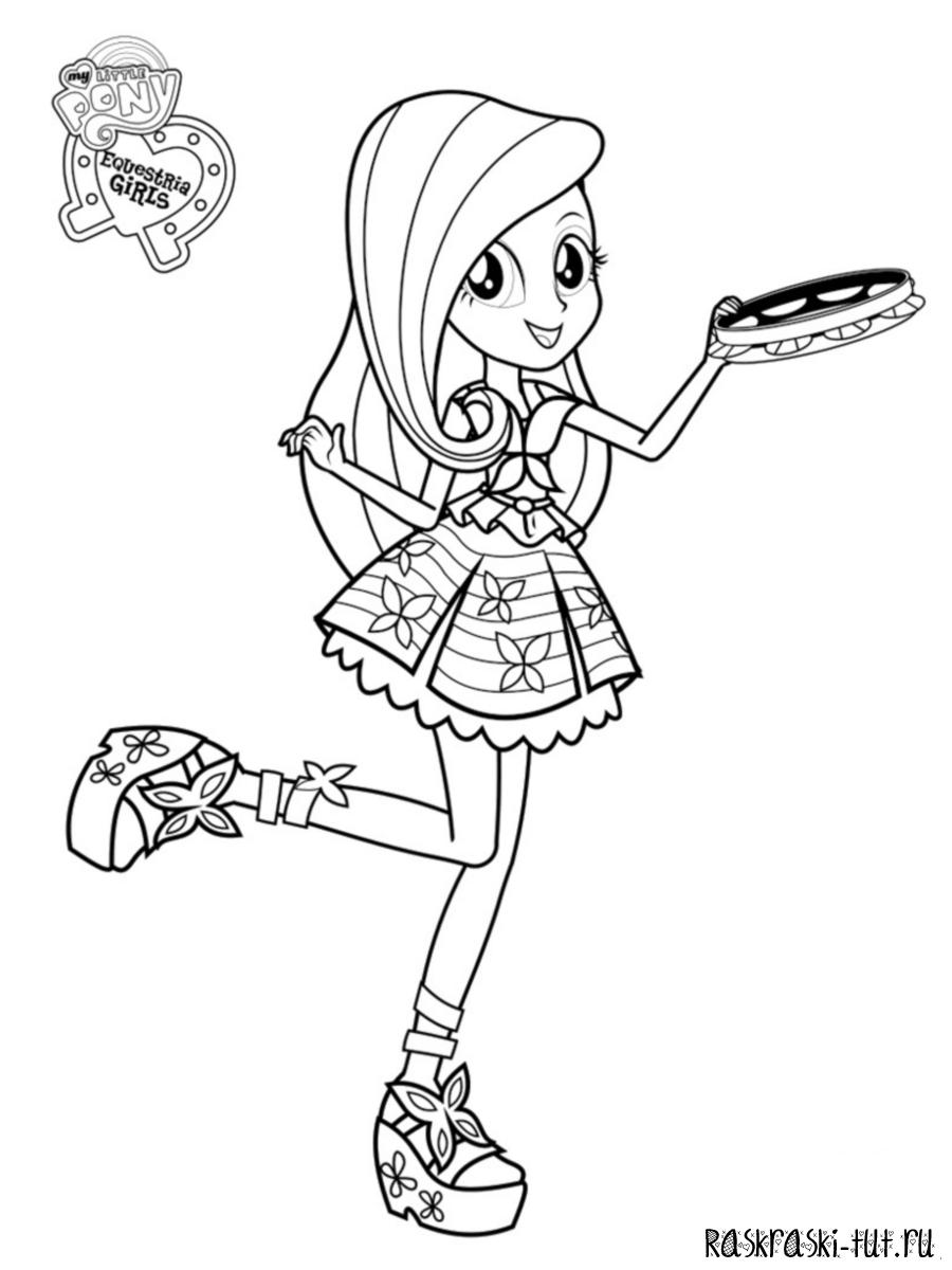 Раскраска Девочки из Эквестрии - Флаттершай с бубном