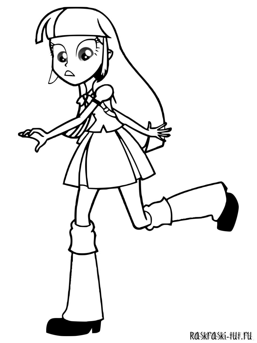Раскраска Девочки из Эквестрии - Искорка бежит
