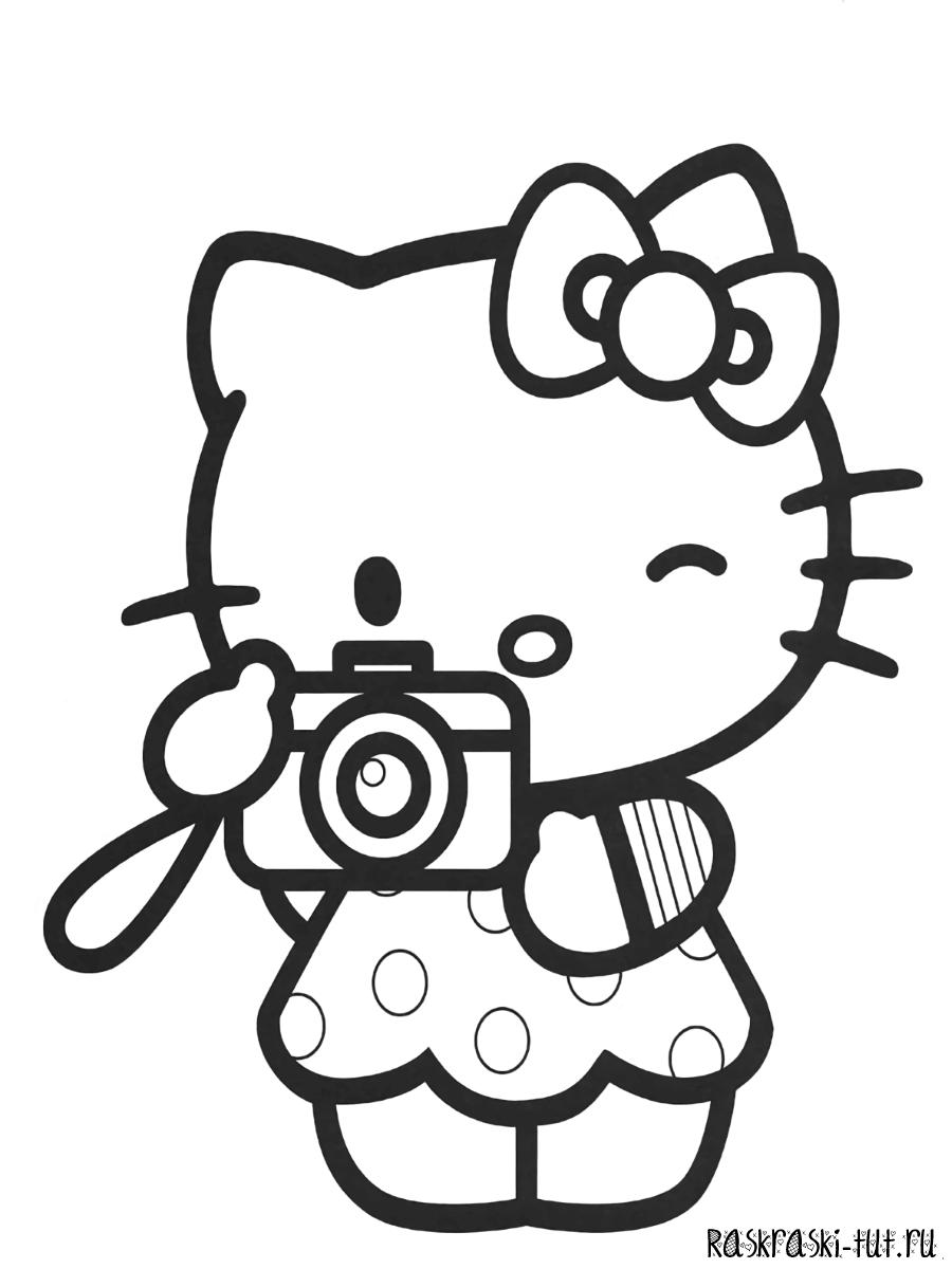 раскраски хелло китти распечатать Hello Kitty 5