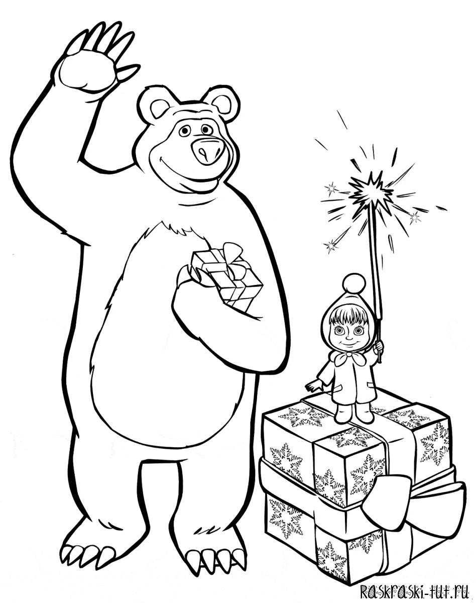Распечатать раскраски Маша и медведь