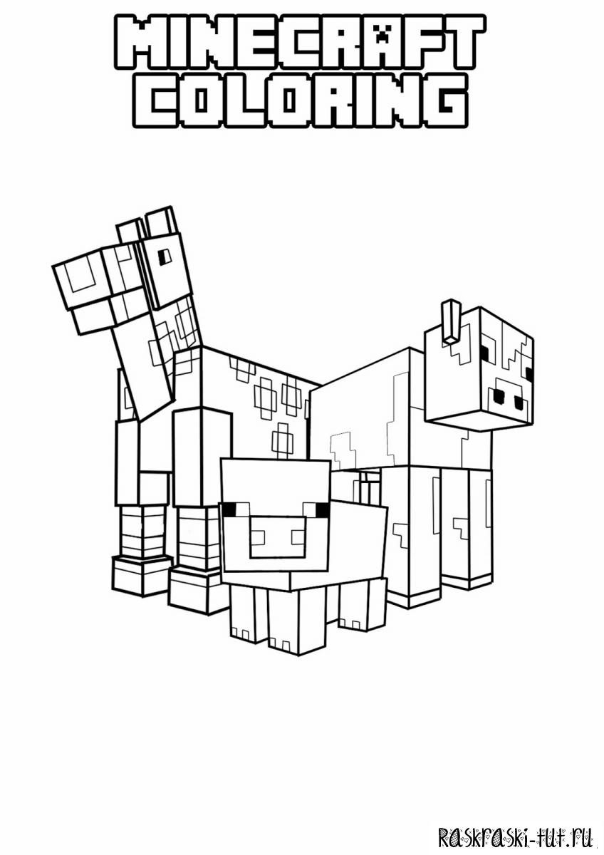 Раскраска майнкрафт игра 182