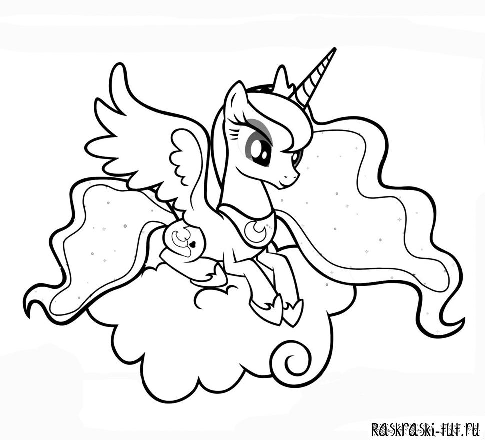 Раскраска пони принцесса луна